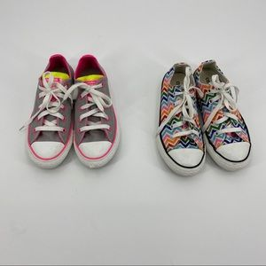 Two Pairs of Girls Converse low tops size 1y